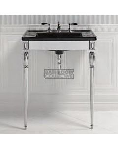 Canterbury - Shefford Large Black Ceramic Basin with Troon Wash Stand Chrome 685mm x 550mm