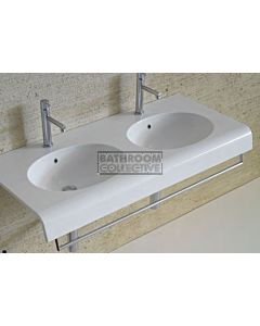 Timberline - Double Bowl Plus 1100mm Wide Wall Basin or Vanity Top with Front Rail