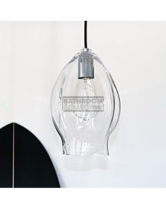Soktas - Volt Large Hand Blown Pendant Light, Clear Glass, Chrome Fitting