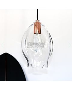Soktas - Volt Extra Large Hand Blown Pendant Light, Clear Glass, Copper Fitting