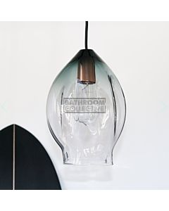 Soktas - Volt Large Hand Blown Pendant Light, Grey Shade Glass, Copper Fitting
