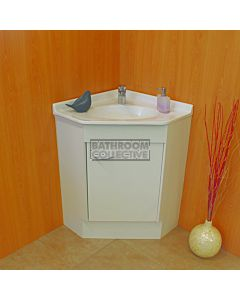 Showerama - Freestanding Custom Australian Made Corner Vanity 610 x 610mm 1 Door Polymarble Top