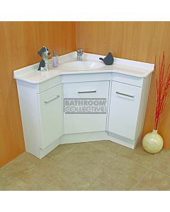 Showerama - Freestanding Custom Australian Made Corner Vanity 910 x 910mm 3 Doors Polymarble Top