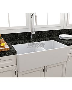 Paco Jaanson - Bocchi Casa Ceramic Kitchen Double Bowl Butler Sink 850mm MATTE WHITE