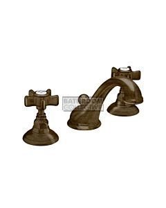 Nicolazzi - 1408 Wash Basin Tap Set with Swan Neck Spout and Pop Up Waste in Dark Bronze with Dame Anglaises Handles