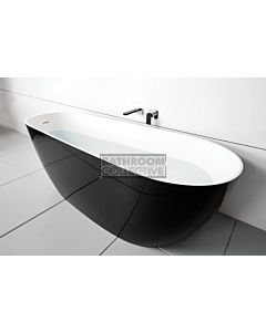 ADP - Day Dream 1700mm Cast Marble Freestanding Bath, GLOSS BLACK & BRIGHT WHITE
