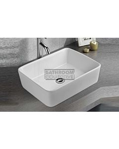 Paco Jaanson - Bellagio Cowel 470mm Bench Mounted Basin WHITE GLOSS
