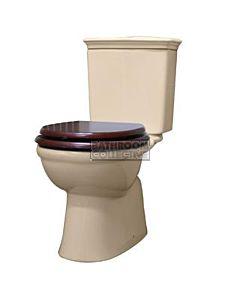 RAK - Kingston Closed Coupled Toilet IVORY Mahogany Seat (Bottom Inlet S Trap 110 - 190mm)