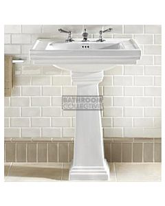 Canterbury - Warrington Deco Large Ceramic Pedestal Basin 640mm x 485mm