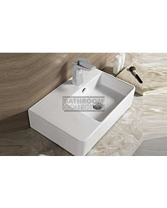 Paco Jaanson - Bellagio Soft 615mm Wall or Bench Mounted Basin Right Hand Bowl 1TH WHITE GLOSS