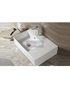 Paco Jaanson - Bellagio Soft 615mm Wall or Bench Mounted Basin Left Hand Bowl 1TH WHITE GLOSS