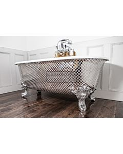 Chadder - Blenheim Double Ended Clawfoot Bath with Polished Metal Mosaic Exterior 1740mm (Handmade in UK)