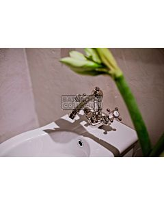 Nicolazzi - 1434 Bidet Twinner Tap Set in Rose Gold with Half Dome Handles