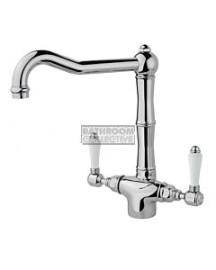 Nicolazzi - 1406 Kitchen Twinner Tap Sink Mixer with Traditional Swivel Spout in Chrome with Petite Mont Blanc Lever Handles