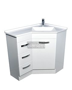 Fienza - Freestanding Corner Vanity, Artificial Marble Top Gloss White 900mm x 600mm Left Drawers 1 Tap Hole