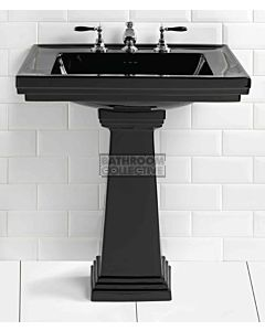 Canterbury - Warrington Deco Large Black Ceramic Pedestal Basin 640mm x 485mm