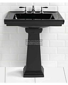 Canterbury - Warrington Deco Large Black Ceramic Pedestal Basin 640mm x 485mm