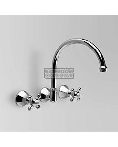 Astra Walker - Classic Wall Kitchen Sink Tap Set, Cross Handle CHROME A57.28
