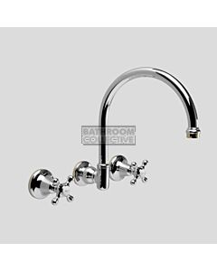 Astra Walker - Hampton Wall Kitchen Sink Tap Set, Cross Handle CHROME/ULTRA GOLD TRIM A58.28.FC-CHROME-ULTRATRIM