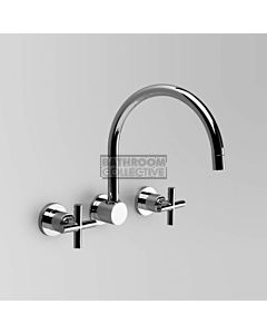 Astra Walker - Icon + Wall Kitchen Sink Tap Set, Cross Handles CHROME A67.28