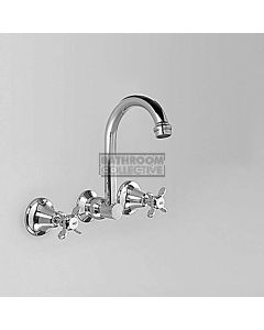 Astra Walker - Olde English Wall Kitchen Sink Tap Set 170mm, Cross Handle CHROME A51.27