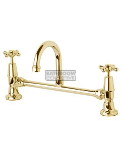 Bastow Tapware - Federation Exposed Basin Set with 115mm Gooseneck Swivel Cross Handle BRASS GOLD