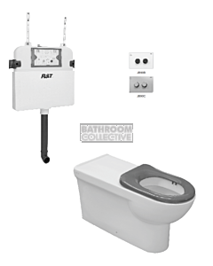 Johnson Suisse - Life Assist Floor Pan Toilet Package Air (Grey Seat & Chrome Pneumatic Button)
