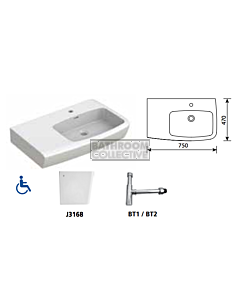 Gemini Industries - Lucca Shelf Assist LH with OF Disabled Basin with Bottle Trap