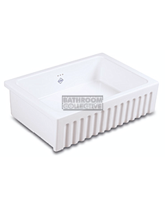 Shaws of Darwen - Bowland 800 Single Ribbed Bowl Fireclay Sink 797 x 535 x 220mm WHITE