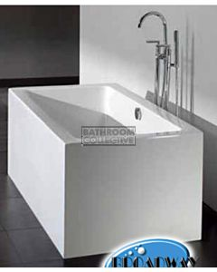 Broadway - Ataud 1500mm Rectangular Freestanding Acrylic Spa, 12 Jets with Remote & Down Light WHITE