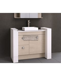 Timberline - Wall to Wall 750mm-950mm Floor Standing Vanity with 20mm Meganite Top