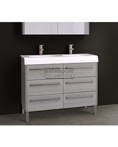 Timberline - Andorra 1100mm On Leg Vanity with Double Basin Ceramic Top