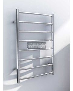 DC Short - Streamline Curved Round Heated Towel Ladder 790H x 665W (left wiring) POLISHED STAINLESS