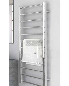 DC Short - Cubo B Square/Round Heated Towel Ladder 1200H x 600W (left wiring) POLISHED STAINLESS