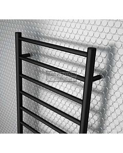 DC Short - Bathroom Oz Round Heated Towel Ladder 1200H x 600W (right wiring) MATTE BLACK