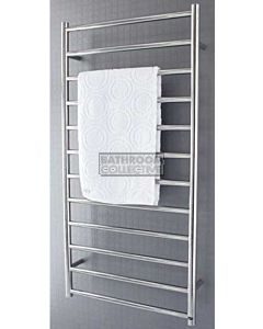 DC Short - Bathroom Oz Round Heated Towel Ladder 1200H x 600W (left wiring) POLISHED STAINLESS