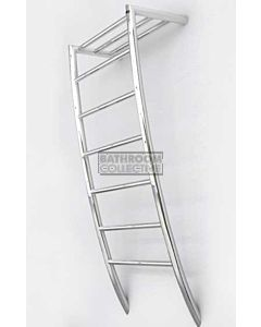 DC Short - Ensuite Oz Round Heated Towel Ladder 1050H x 450W (left wiring) POLISHED STAINLESS