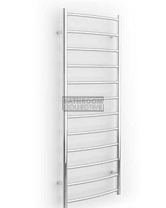 DC Short - Niko OZ S Round Curved Heated Towel Ladder 1200H x 445W (left wiring) POLISHED STAINLESS