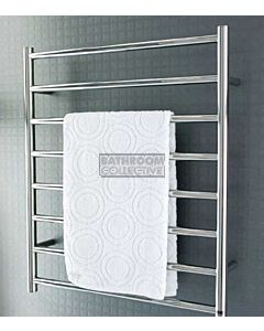 DC Short - Fineline Round Heated Towel Ladder 790H x 665W (left wiring) POLISHED STAINLESS