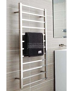 DC Short - Cubo E Square/Round Heated Towel Ladder 1200H x 450W (right wiring) POLISHED STAINLESS