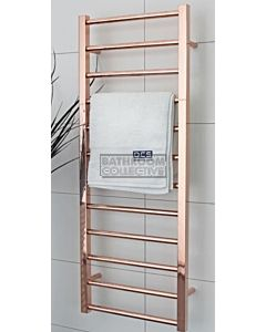 DC Short - Cubo E Square/Round Heated Towel Ladder 1200H x 450W (right wiring) POLISHED ROSE GOLD