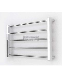 DC Short - Cubo Square/Round Heated Towel Ladder 475H x 832W (left wiring) POLISHED STAINLESS