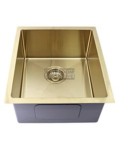 Modern - Taranto 440mm Light Gold Finish Single Bowl Kitchen Sink, Round Corner Round Waste
