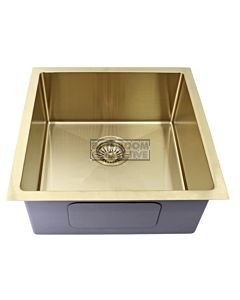 Modern - Taranto 450mm Light Gold Finish Single Bowl Kitchen Sink, Round Corner Round Waste