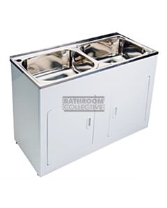 Modern - Faro 1160mm Double 45L Bowl Freestanding Compact Laundry Tub