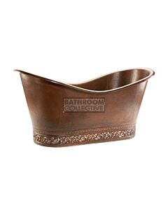 CopperCo - 1702mm Hammered Copper Double Slipper Bathtub with Scroll Base and Nickel Inlay