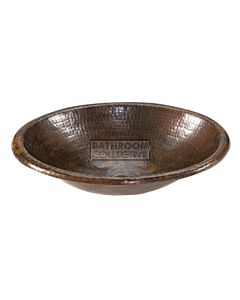 CopperCo - 432mm Small Oval Self Rimming Hammered Copper Sink