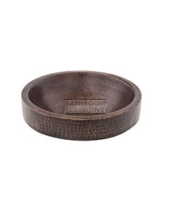 CopperCo - 381mm Small Round Skirted Vessel Hammered Copper Sink