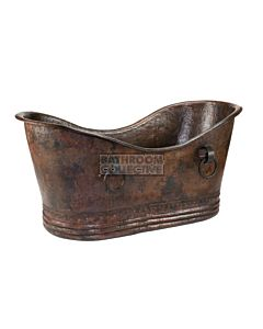 CopperCo - 1524mm Hammered Copper Double Slipper Bathtub With Rings