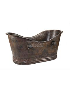 CopperCo - 1702mm Hammered Copper Double Slipper Bathtub With Rings